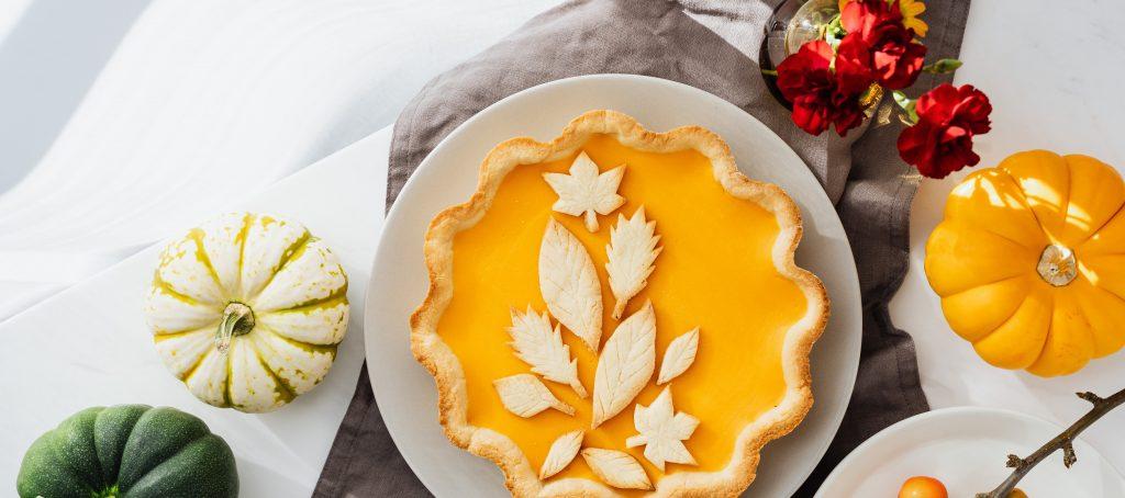 Thanksgiving pie, produce, flowers